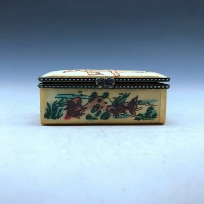 Chinese ancient hand-carved gift box pure handmade painting of men and women P31