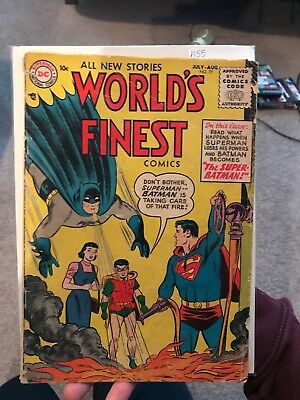 World's Finest #77 ~ Superman Loses powers,Batman obtains them ~ 1955