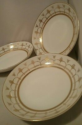 Palazzo Crescent Japan 3 BERRY BOWLS 8270 White Porcelain Gold pattern