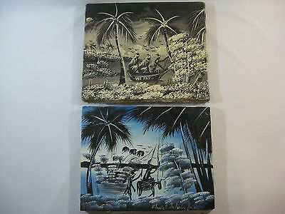 (2) Vtg. Hand Painted Oil Paintings On Canvas Polynesian Tropical Setting Signed