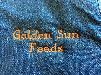 Vintage Blue Denim And Faux Fur Lined Golden Sun Feeds Advertising Vest Size L