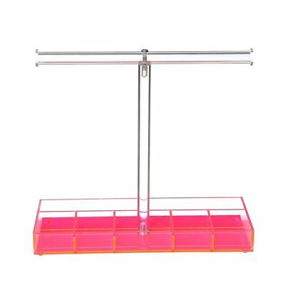 Mooca Pink Acrylic T-Bar Tall Tabletop Necklace Holder | Jewelry Display Stand T