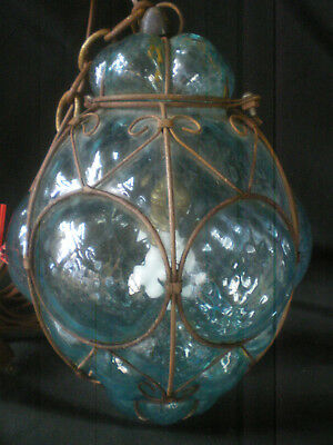 Great Large Vintage Murano Blue Blown Glass Caged Light Globe Ceiling Fixture !!