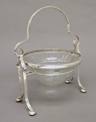Silver Plated Brass Basket with Embossed Glass Bowl With Ring Home Decor