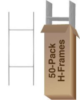 "Standard ""H"" Frame Wire Yard Sign Stakes 10"" x30"" Pkg of 50 - Use with 4mm Corru"