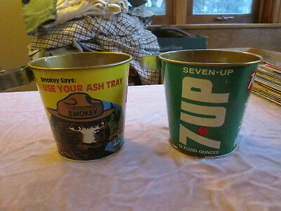 2 Vintage Advertising Can Ash Buckets 7-Up & Smokey the Bear lot SG