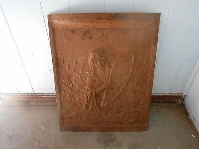 Antique Iron Fireplace Cover With Woman Playing Harp Motif Raised Art