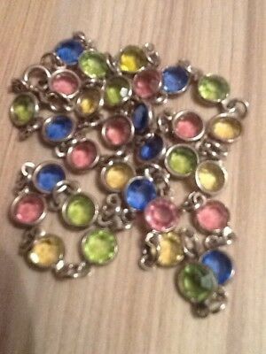 """A9) Vintage Necklace 18"""" Silver Colour Metal Chain With Coloured Inserts"""