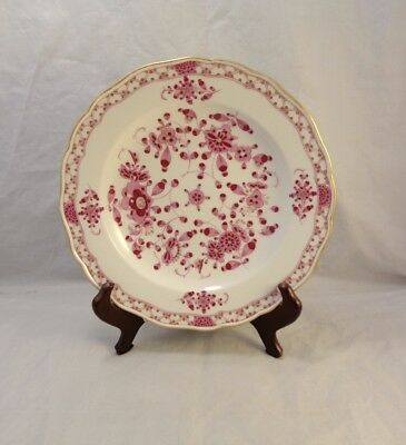 "Stunning Antique 1880s MEISSEN Pink Indian Hand Painted 9.5"" Rimmed Soup Bowl"