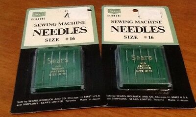 NOS Lot Of 2 Vintage Sears Kenmore SIZE 16 SEWING MACHING NEEDLES (10 Total)