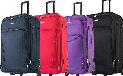 "29"" Large Suitcase Lightweight  Big XL Luggage Expandable Travel Trolley Soft"