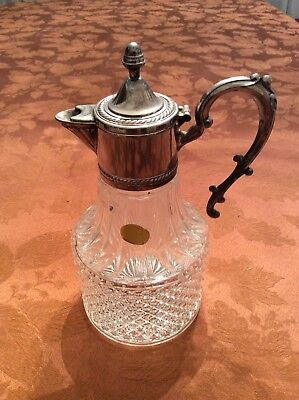 Pitcher Crystal Silver Plate By Leonard Of Italy