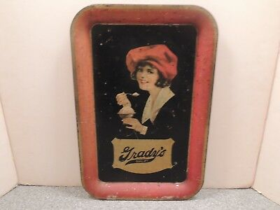 Vintage Grady's Ice Cream Advertising Serving Tray 1920's Sign