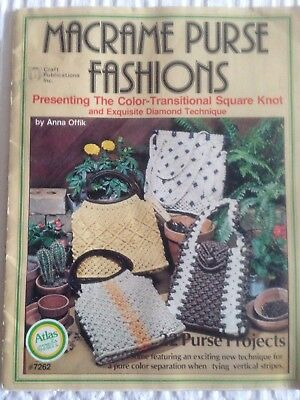 Macrame Purse Fashions Anna Offik Vintage 70s Pattern Instruction Book Handbags