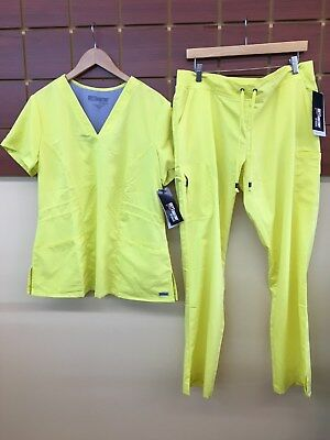 NEW Grey's Anatomy Yellow Solid Scrubs Set With Large Top & Large Pants NWT