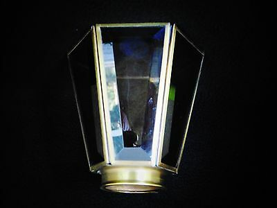 "2-1/4"" Fitter Vintage Smoked Belveled Glass Panels & Brass Shade Fans Sconce"