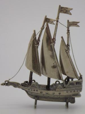 Vintage Solid Silver Italian Made LARGE Ship Miniature, Figurine, Stamped