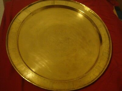Rare Large Antique Persian 19C Qajar Islamic Arabic Brass Tray Finest Quality