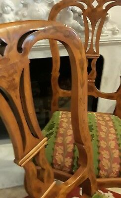 Pair of Stunning Antique Art Nouveau-style, Hand-etched Chairs