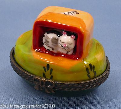 Cat #4 Cat In A Box Porcelain Trinket Box Hand Painted