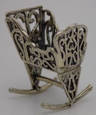 Vintage Solid Silver Italian Made Swinging Cot Miniature, Figurine, Stamped