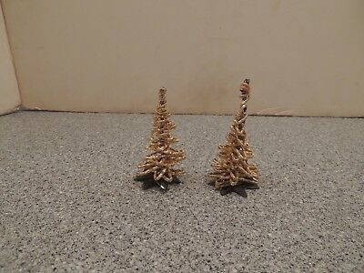 Lot of 2 Vintage Christmas Trees Bottle Brush Aluminum Foil Gold MCM