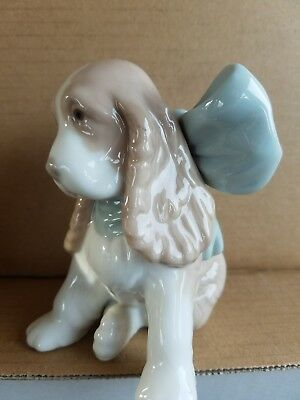 NAO by Lladro Spaniel Dog with Blue Bow Puppy Present #1349