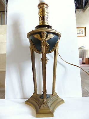 """SUPERB & VERY LARGE ANTIQUE FRENCH EMPIRE BRONZE LAMP w 3 CHERUBS 1890's 7 1/10"""""""