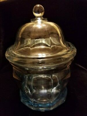 Clear Blue Glass Jar w/ Lid~Apothecary/ Candy/Biscuit/Tobacco Lidded Jar