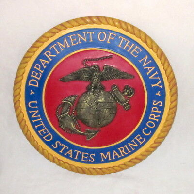 """US Marine Corps Department of the NAVY wall plaque USMC 9.5"""" round military"""