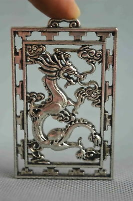 Collectable Handwork Decor Old Miao Silver Carve Myth Dragon Exorcism Pendant