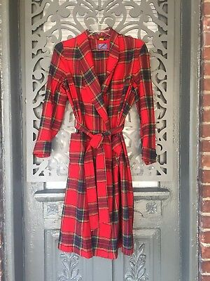 Vintage Pendleton Mens Womens Wool Robe Sz M Red Tartan Plaid