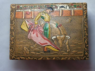 Vintage Box Of Matches With Embossed Spanish Bull Fighter Design