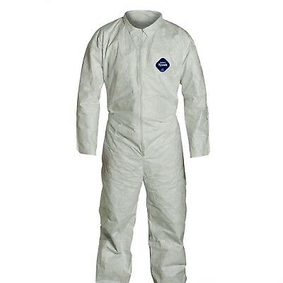 DuPont 5 White Tyvek Disposable Coverall Protective Apparel XL Open wrist ankle