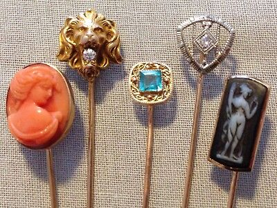 Lot Antique Victorian 10K Gold Stick Pins Carved Coral Cameo Lion Head Diamonds