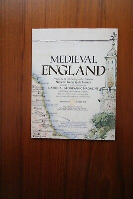 National Geographic Medieval & Political Map of England - October 1979.