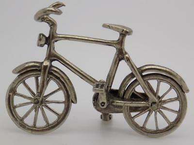 Vintage Solid Silver Italian Made Dollhouse Bicycle Miniature, Figurine, Stamped