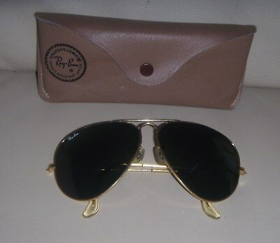 Vintage Bausch & Lomb Ray Ban Aviator Gold 62 / 14 Sunglasses with Case - USA