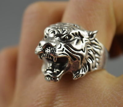 Collectable Handwork Decor Old Miao Silver Carve Tiger Head Exorcism Evil Ring