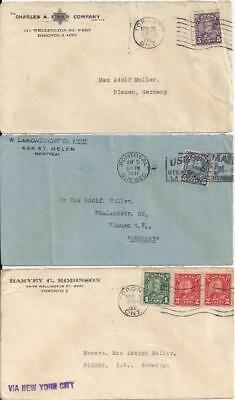 Canada 6 env with stamps,  all to Germany 1930-31