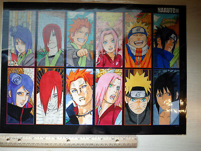 NEW EXCLUSIVE Kishimoto Naruto Exhibit Team 7 Akatsuki Color Manga Clear Poster