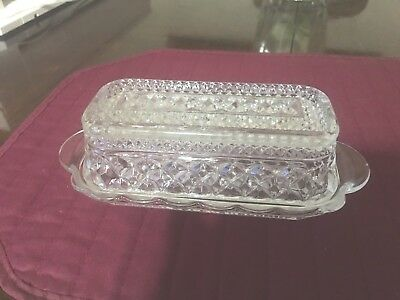 Covered Cut Glass Vintage Butter Dish