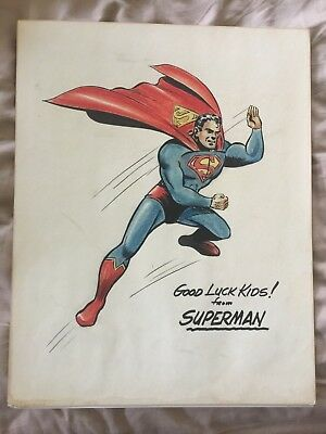 ORIGINAL 1940s SUPERMAN ARTWORK GOOD LUCK KIDS! FROM SUPERMAN BORING BURNLEY?