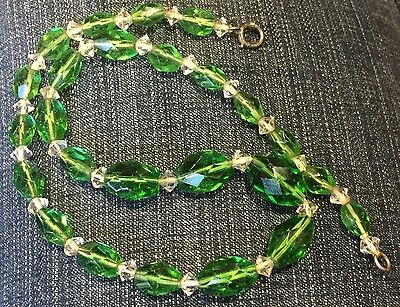 "++ FACETED ANTIQUE VICTORIAN CZECH GREEN CUT CRYSTAL GRADUATED 16"" NECKLACE mint"