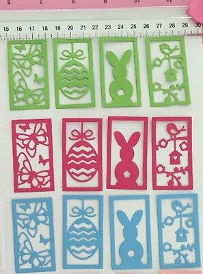 Die Cuts! 12 Pc 'Easter Egg Spring Basket' Card Topper Rabbit Butterfly Bunny