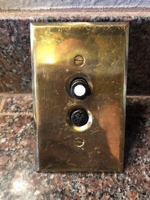 Works! Vintage Perkins 2 Push Button Switch Brass Plate Cover #106