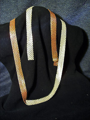 EXTREMELY Rare Vintage 1960's Copper and Silver Metal alloy Mesh Fashion Belt