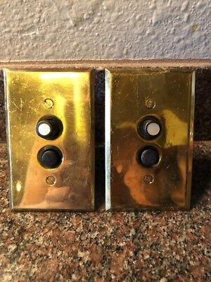 2 Works! Vintage Perkins 2 Push Button Switch Brass Plate Mother Of Pearl #108