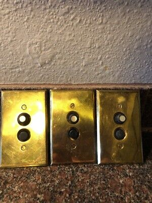 3 Works! Vintage Perkins 2 Push Button Switch Brass Plate Mother Of Pearl #109