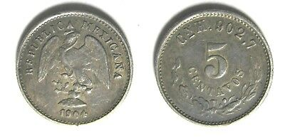 1904 Mexican 5 centavos ~ WONDERFULLY TONED